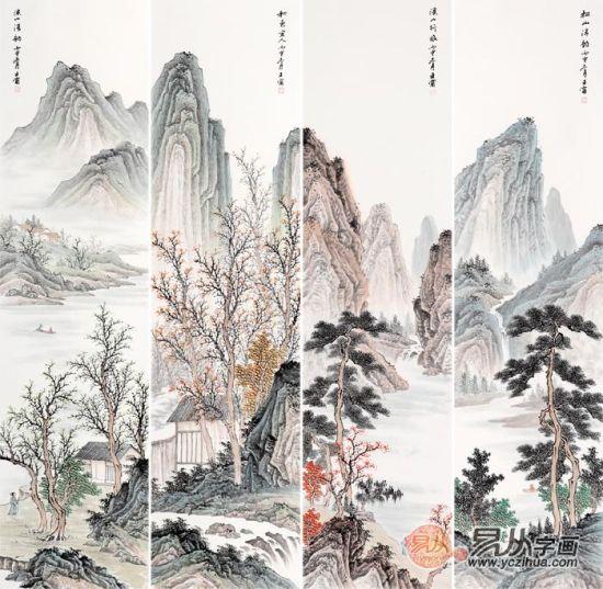 山水画四条屏 王宁写意国画作品《溪山行旅》【作品来源:易从网】
